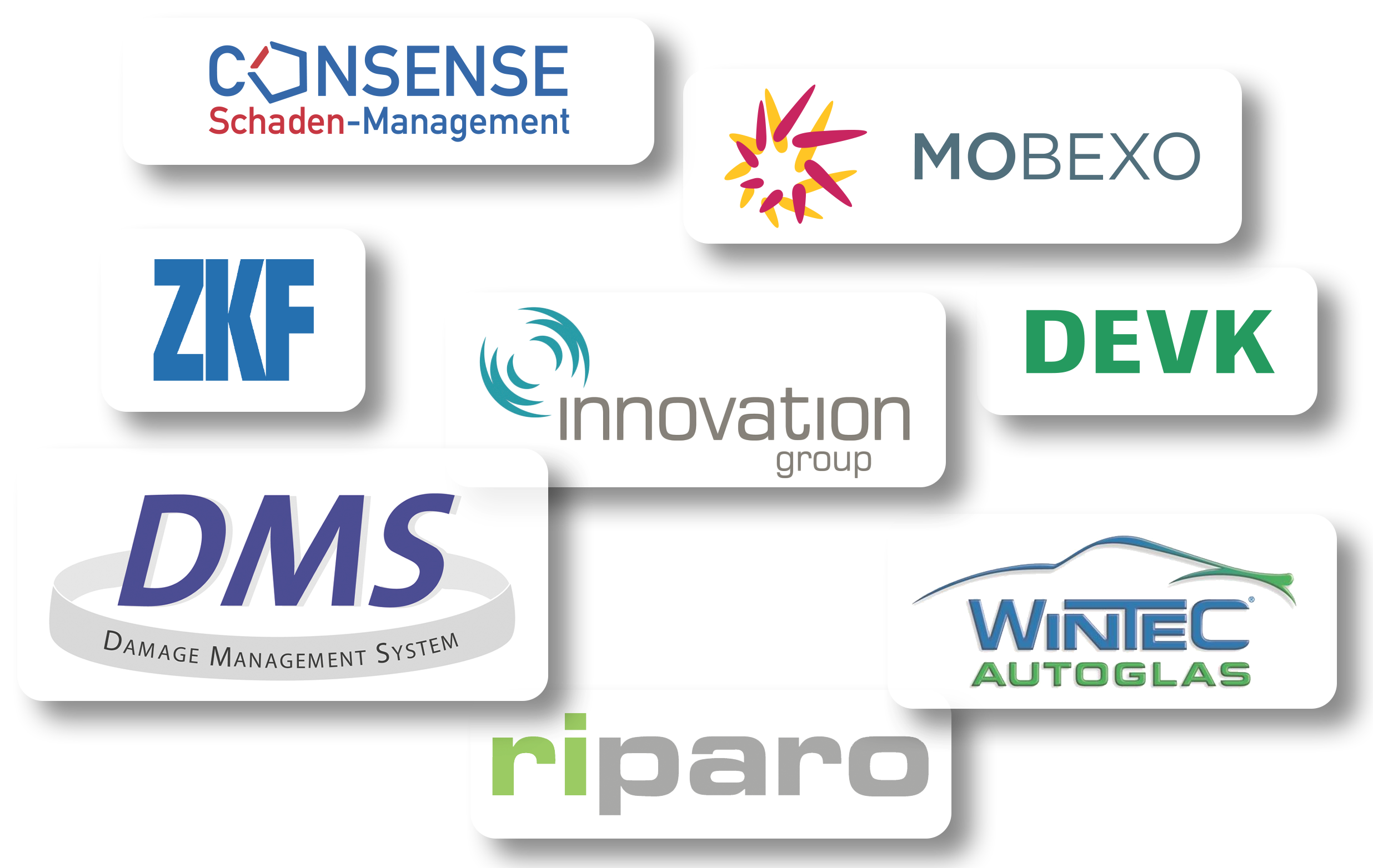 Consense Schaden-Management | DEVK | ZKF | innovation group | DMS Damage Management System | riparo | Wintec Autoglas